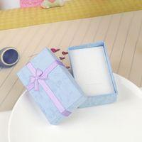 embalagem de esponja venda por atacado-Caixa de Jóias 8x5CM Colar Caixa de Anel para Jóias Caixa de Presente de Papel Preto Jóias Embalagem de Brinco Exibição com Esponja