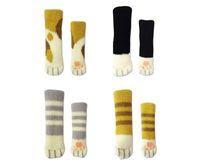 masa ayak ayağı toptan satış-Masa Ayakları Kollu Çok Renkli Sevimli Örme Kedi Pençe Sandalye Ayak Kapak Kaymaz 0 99qh C R