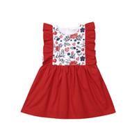 robes de noel achat en gros de-Princesse De Noël Enfants Bébé Fille Robe De Soirée Fleur À Volants Robes Rouges Vêtements Bowknot Sans Manches Bébé Enfant Fille XMAS Robe Vêtements 0-3Y