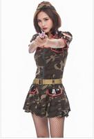 traje de mujer militar al por mayor-Sexy Mujeres Adultas Del Ejército Verde Cosplay Disfraces Súper Militar camuflaje de disfraces de Halloween Cosplay Uniforme Traje de Policía PS078