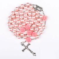 ingrosso collana di rosario dei branelli di vetro-rosario rosa perline cattolico rosario collana per ragazze donne vetro padre bead crocifisso rosa ciondolo regalo di halloween ragazza