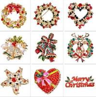 corpete de natal do vintage venda por atacado-Grinalda da grinalda do Natal do vintage top grau de liga corsage com diamante flores jóias presentes de natal