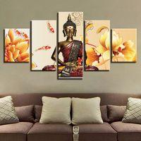 pinturas de decoração de casa de buda venda por atacado-Pinturas de Lona modular Wall Art Framework 5 Peças Estátua de Buda Cartaz HD Imprime Peixe Lótus Pictures Home Decor Sala de estar