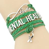 liebe hoffnung infinity armbänder großhandel-Infinity Love Hope Charm Psychische Gesundheit Armband medizinische Awareness Armbänder Armreifen Geschenk für Männer, Frauen Schmuck