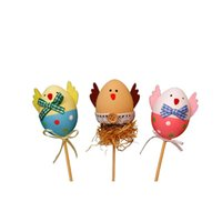 Wholesale free coloring kids - free shippgFunny Chick Design Plastic Coloring Painted Easter Eggs With Sticks Kids Gifts Toys For Christmas Easter Home Party Favo AEI-474
