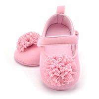 младенческие девочки размер розовые туфли оптовых-Newborn Pink Flowers Baby Shoes Girls Cotton Leather Infant Shoes Baby Girls Soft Bottom Kids Footwear Size 1 2 3