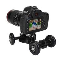 video kamera kaydı kaydırıcı toptan satış-4 Tekerlekler DSLR eylem Video Kamera Parça Araba Sabitleyici Alüminyum fotoğrafçılık Nikon Canon Git pro Için masa üstü Demiryolu Parça Slider Patenci kamera