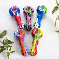 Wholesale random tools - Colorful Silicon Hand Pipe With Glass Bowl Random Color Silicon Dab Rig Hookah Bongs Glass Bowl Dab Tool
