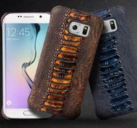 étui arrière pour samsung s6 edge achat en gros de-Housse arrière en cuir à motif de jambe d'autruche pour Samsung Galaxy S6 edge, coque arrière ultra fine de haute qualité pour galaxy S6