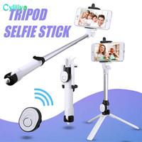 auto-retrato selfie handheld stick venda por atacado-Bluetooth Selfie Vara Universal Extensível Handheld Mini Bolso Auto-retrato com Suporte Ajustável carga livre Bluetooth Obturador Remoto