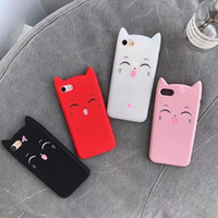Wholesale smile phone cases - 3D Cat Smile Cats Soft Silicone Gel Case For iPhone X 8 7 Plus 6 6s SE 5 5S Cute Lovely Colorful Pink Black Transparent Phone Cover Skin