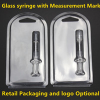 Wholesale Tank Leak - No leaking Luer Lock Pyrex Glass Syringe tip head 1ML injector with measurment mark and retail packaging for thick Co2 Oil Cartridges Tank