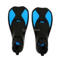 Wholesale yellow swim fins resale online - Kids Adults Soft TPR Full Foot Short Fins Snorkeling Scuba Diving Swimming Training Flippers Yellow Blue Rose Red