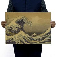Wholesale vintage office posters for sale - Group buy Japan Kanagawa Epic Masterpiece Float World Draw Vintage Kraft Paper Poster Home Decor Wall Decals Art DIY Retro Decor Prints