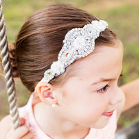 Wholesale big flower hair band girl resale online - 10pcs New Pretty Children Accessories Girls Hair Elastic Baby Girl Headband Hair Band Big Kids Flower Headband H150