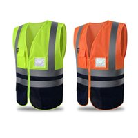 outdoor uniform jacken großhandel-Unisex Sicherheit Polyester Weste Reflektierende High Visibility Reißverschluss Sicherheit Jacke Outdoor Weste Uniform Sportswear Herren Westen