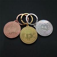 Wholesale Iron Man Silver - New Silver Gold Bitcoin Keychain BTC Coin Art Collection holder Coin Key Chain Rings Souvenir Coin Drop SHipping