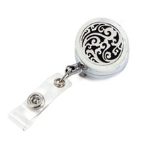 Wholesale Retractable Key Clip - Silver Breeze 30mm Perfume Locket Metal Retractable Badge Reel Key ID Card Clip Ring Lanyard With Free Pads