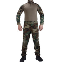 Wholesale woodland uniform for sale - Camouflage BDU Woodland Combat uniforms shirt with broek and elbow knee pads militaire game cosplay uniform ghilliekostuum