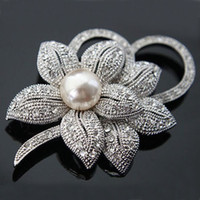 Wholesale austria crystal brooch resale online - hot sell Vintage Style Rhodium Plated Clear Austria Crystals Imitation Pearl Big Bow Brooch for women Wedding Accessories