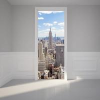 new york aufkleber großhandel-2 Teile / satz 3D New York Manhattan tür aufkleber Holz aufkleber selbstklebende dekoration Wasserdichte tür aufkleber