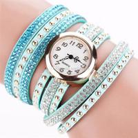 Wholesale relogio braid resale online - Fashion Casual Quartz Women Rhinestone Watch Braided Leather Bracelet Watch Gift Relogio Feminino Gift New free dhl