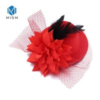 ingrosso bande di capelli in maglia-M MISM Fascinator Cooktail Hair Band Copricapo Cocktail Hat Hairclips Donna Velo di velo Piuma Accessori per capelli da donna