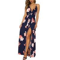 frauen sommer maxi kleider großhandel-Womens Print Sexy V-Ausschnitt Spaghetti Strap Long Maxi Kleider High Split Sommer Backless Bandage Beach Dress für Damen XXL