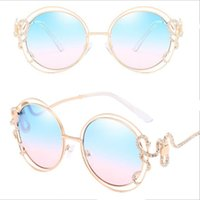 Wholesale curved glass frames wholesale - 2018 Personality Round Sunglasses Double circle hollow sunglasses diamond irregular curved leg lady glasses Exquisite Luxury Women Glasses