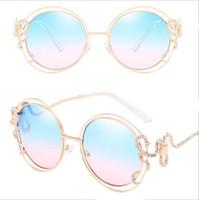 Wholesale Ladies Leg Sunglasses - 2018 Personality Round Sunglasses Double circle hollow sunglasses diamond irregular curved leg lady glasses Exquisite Luxury Women Glasses