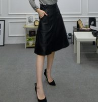 Wholesale Genuine Leather Skirts - Free shipping Ladies Fashion Skirt Genuine Leather Women Skirts Beautiful Colour Black New Long Retail Wholesale Lamb Dip