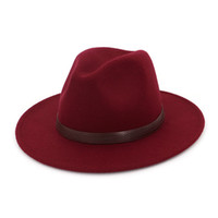 deri fedoras toptan satış-Unisex Panama Caz Fedora Kap Kadın Erkek Yün Sivri Sivri Geniş Ağız Derby Şapka Hissettim Kahve Deri Dekorasyon Kumar Chapeau