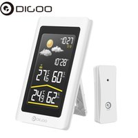 Wholesale ccd color video resale online - Newest Digoo DG TH11300NF Smart Home Wireless HD Color Screen USB Outdoor for Weather Station VA Glass Hygrometer Thermometer
