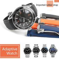 uhrenband gummi großhandel-20mm 22mm Uhrenarmbänder Männer Frauen Orange Schwarz Wasserdicht Silikon Gummi Uhrenarmbänder Armband Verschluss Schnalle Für Omega Planeten-Ozean Werkzeuge
