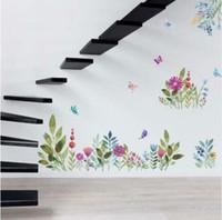 ingrosso decorazione farfalle giardino-Trasporto libero adesivi murali fiore di primavera colorato TV sfondo divano decorazione uccelli volanti farfalla decalcomania della parete 3d Garden Wedding Decor