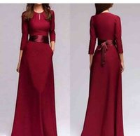 Wholesale customized sashes for sale - Group buy Burgundy Long Sleeves Satin Long Bridesmaid Dresses Bow Sash A Line Ruched Floor Length Wedding Guest Maid of Honor Dresses