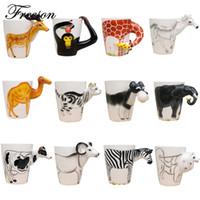 copa de elefante al por mayor-Tazas Mighty Ceramic Coffee Milk Tea Mug Creative Animal Shape Pintado a mano Ciervo Jirafa Vaca Conejo Perro Gato Camello Elefante Taza