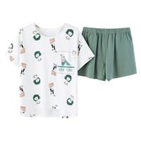pyjama court met mignon achat en gros de-SMOEEP Summer Print manches courtes avec shorts Pyjama Set femmes Cute Cotton T-shirts shorts Pyjama Sets WP-1885