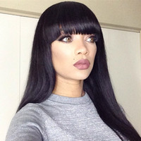 Wholesale full fringe hair - New Arrival Peruvian Human Hair Full Fringe Wig Human Hair Glueless Full Lace Wig With Bangs Bleached Knots For Black Women