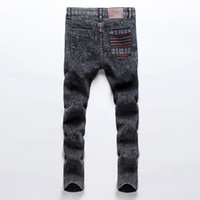 Wholesale hip hop skinny harem style - Wholesale-Skinny Jeans Men Slim Fitness Solid Casual Feet Harem Style Denim Pant 2016 Fashion Hip Hop Men Grey Elastic Long Trousers z5