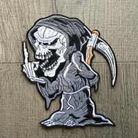 patchs de motards brodés achat en gros de-Patch Cartoon Grim Reaper Patchs brodés pour vêtements Fer sur vêtements Moto Biker Appliques Badge Stripes Stickers Diy 2pcs / set