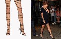 açık parmak çizme kesim sandalet toptan satış-2017 Rihanna Tarzı Uyluk Yüksek Sandalet Cut-çıkışları Gladyatör Boots Açık Ağızlı Yüksek Topuk T-yürüyüş Moda Ayakkabı
