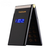 ingrosso bluetooth dual sim mobile-Cellulare originale TKEXUN M2 Flip Cell Metal Body Senior Luxury Dual Camera MP3 MP4 3.0 pollici Touch Screen Cellulare