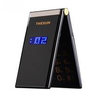 pantalla táctil de 256 mb al por mayor-Original TKEXUN M2 Flip teléfono celular Cuerpo de metal Senior de lujo Dual Sim Cámara MP3 MP4 3.0 pulgadas de pantalla táctil Teléfono móvil