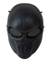 masque de wargame achat en gros de-Masque de punisseur Armée de Punisher Noir Crâne Tactique Masque De Protection Complet CS Wargame Paintball Cosplay