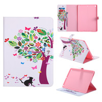 Wholesale Ipad Painting - Painting Pattern Leather Wallet Auto Sleep Wake Tablet Case For Samsung iPad 2 3 4 5 6 Pro 10.5 Mini 4