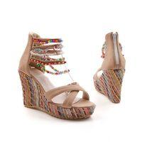mädchen böhmische sandalen großhandel-Großhandel Sommer Mode Frau Sandalen Schuhe Bohemian Sandalen Komfortable Süße Keilabsatz Schuhe für Mädchen SNE-045