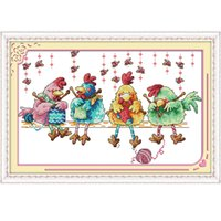 Wholesale counted cross - The chicken knitting a sweater Canvas DMC 11ct and 14ct Counted Chinese Cross Stitch Kits printed Cross-stitch set Embroidery Needlework