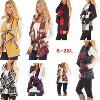 yaka yeleği toptan satış-Kadın Yaka Ekose Hırka Cep Yelek Ceket Düzensiz Onay Kolsuz Ceket Açık Ön Bluz Dış Giyim Yelek 8 Renkler AAA116