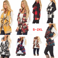 Women Lapel Plaid Cardigan Pocket Vest Coat Irregular Check Sleeveless Jacket Open Front Blouse Outwear Waistcoat 8 Colors AAA116